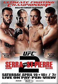 A poster or logo for UFC 83: Serra vs St-Pierre 2.