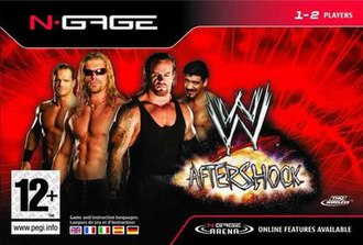 WWE Aftershock - European cover art featuring Chris Benoit, Edge, The Undertaker and Eddie Guerrero