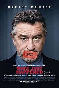 """A headshot of Robert De Niro, his mouth covered by a ticket saying """"Admit Nothing"""""""