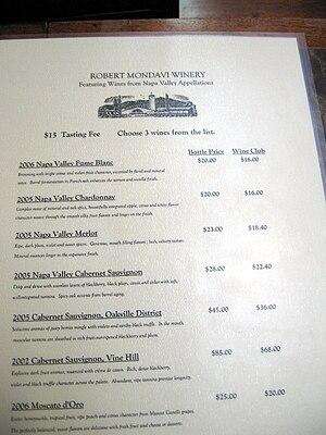 Wine list - The wine list for a wine tasting at the Robert Mondavi Winery