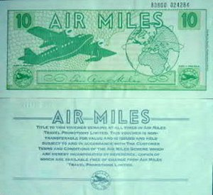 Air Miles - Both sides of a typical UK paper Air Miles voucher