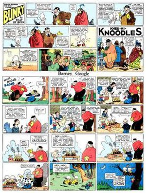 Topper (comic strip) - Billy DeBeck's Barney Google (October 7, 1934), a page featuring two toppers: Bunky and the single-panel Knee-Hi-Knoodles.