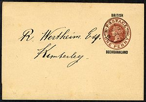 Postage stamps and postal history of British Bechuanaland - British Bechuanaland 1d Newspaper wrapper used 3 March 1894 at Mafeking to Kimberley - the newspaper rate at the time was ½d.