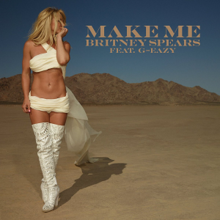 The artwork portrays Spears walking in a desert-like area, with her being scantily dressed in white material.