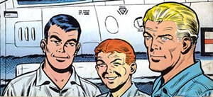 Buck Danny - From left to right: Tumbler, Tuckson and Danny as drawn on the back cover of the original publication albums.