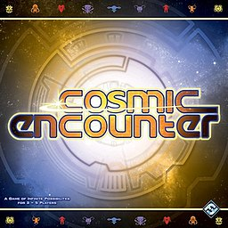 The cover of the current edition of Cosmic Encounter, from Fantasy Flight Games.