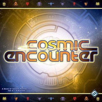 Cosmic Encounter - The cover of the current edition of Cosmic Encounter, from Fantasy Flight Games.