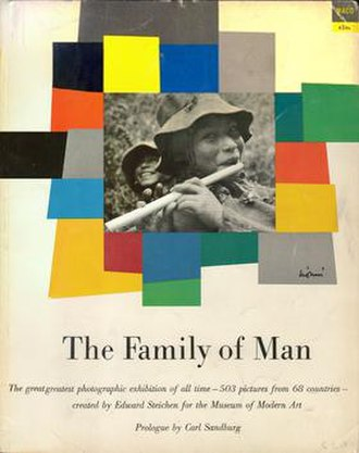 The Family of Man - Softcover book catalogue of The Family of Man, designed by Leo Lionni, Piper photo by Eugene Harris. First issued for $1.00 in 1955 by Ridge Press, 4 million have sold and it is still in print.