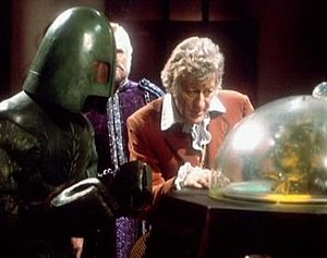 Ice Warrior - The Curse of Peladon depicts an Ice Warrior delegation aiding the Doctor.