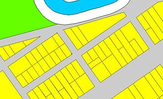 Digital Cadastral DataBase - An example of a DCDB file showing properties, road easments and a watercourse