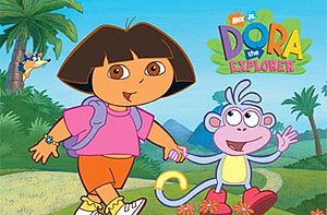 Dora the Explorer - From left to right: Swiper (in background), Dora, and Boots