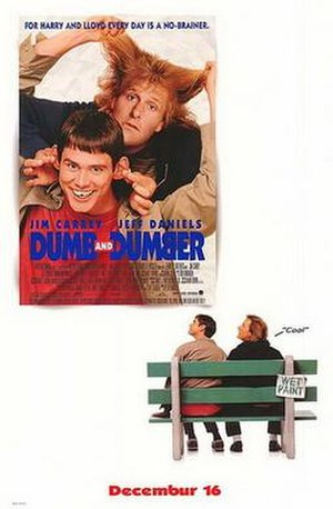 Dumb and Dumber - Theatrical release poster, parodying Forrest Gump