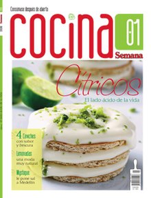 "Front cover of the first issue of Cocina, the cover reads ""Citrics: The acidic side of life"" and features a lime dessert in the middle with a cut lime in the back."