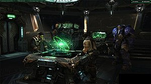 StarCraft II: Wings of Liberty - The new Terran briefing system allows the player to explore the inside of the battlecruiser Hyperion.