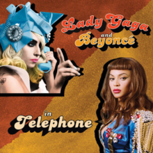 Gaga in the upper left corner, holds up her right hand with her index finger extended. She wears headdress made of several blue telephone dials. Beyoncé is in the lower right corner, wearing a blue coat with gold tassels on the shoulders.
