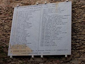 Bussana Vecchia - A marble memorial in remembrance of those who died in the Earthquake in Bussana Vecchia