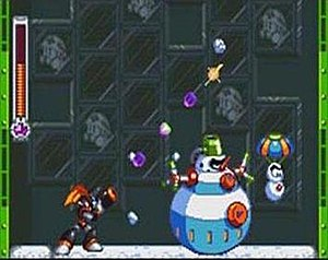 Mega Man & Bass - Unlike Mega Man, Bass can fire rapidly in eight different directions. The player's health is displayed on the left.