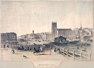 St Paul's Cathedral, Melbourne - 1862 lithograph of Melbourne from Princes Bridge, showing on the right the predecessor St Paul's Church