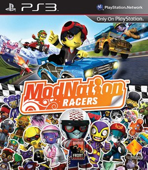 ModNation Racers - PAL region Cover art for PlayStation 3, Showing The Characters Of The Game