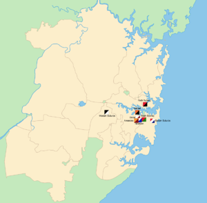 1915 NSWRFL season - The geographical locations of the teams that contested the 1915 premiership across Sydney.