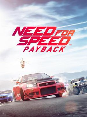 Need for Speed Payback - Cover art featuring a Nissan Skyline R34 GT-R V·Spec, BMW M5 and Chevrolet Bel Air Sport Coupe 265 V8 escaping from the police.