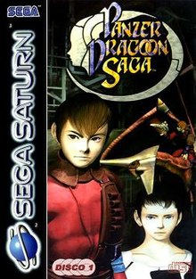 The Panzer Dragoon Saga European cover art. The protagonist, Edge, stands before his dragon and another character, Azel.
