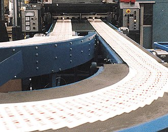 Conveyor system - A Conveyor belt conveys papers at a newspaper print plant