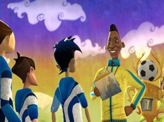 Academy of Champions: Soccer - Pelé talks to the main character's team in the cartoon art style of the game.