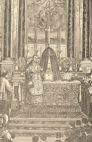 An 1819 picture showing Mastai-Ferretti at his first Holy Mass PioIXmass.jpg