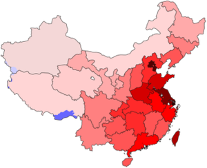 Migration in China - A population density map. The eastern, coastal provinces are much more densely populated than the western interior because of the opportunities available to migrants.