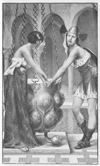 Rhiannon - Pryderi and Rhiannon's imprisonment, by Albert Herter. From  Thomas Wentworth Higginson's Tales of the Enchanted Islands of the Atlantic