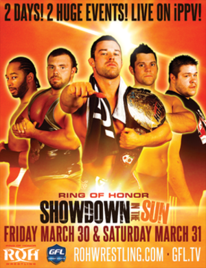 Showdown in the Sun - Promotional poster featuring (left to right) Jay Lethal, Michael Elgin, ROH World Champion Davey Richards, Eddie Edwards and Kevin Steen