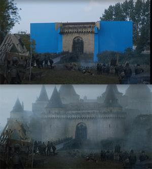 No One (Game of Thrones) - The castle face, and drawbridge were physically built, with the rest added in post-production with special effects.