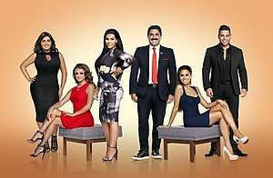 Shahs of Sunset - Season 4 cast from left: Javid, Gharachedaghi, Rahmati, Farahan, Mirza, and Shouhed