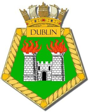 Naval heraldry - Ship's badge for the British light cruiser HMS ''Dublin''. This ship served before the standardisation of ship badges into the circular shape; the pentagon indicating that Dublin was a cruiser.