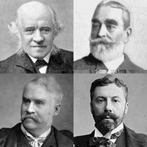 Arthur Sullivan - Colleagues and collaborators: clockwise from top left, George Grove, F. C. Burnand, Richard D'Oyly Carte, W. S. Gilbert