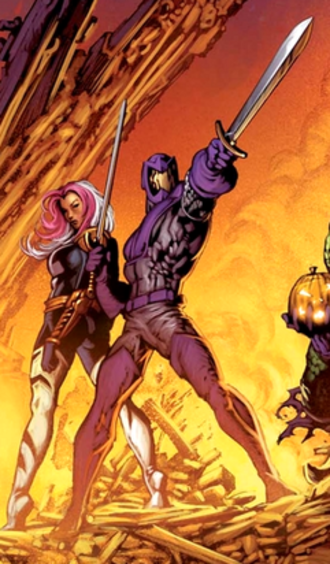 Fenris (comics) - Andreas von Strucker as Swordsman (middle) next to Songbird (behind, left). Art by Mike Deodato.