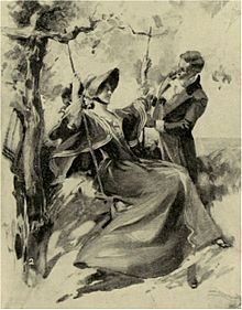 magazine sketch of a young woman on a swing and an attentive young man, both in early nineteenth century costume