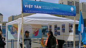 Human rights in Vietnam - Việt Tân Party info booth at a pro-democracy, pro-human rights rally
