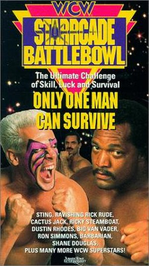 Starrcade (1992) - Official cover of the VHS tape, featuring Sting (left), Rick Rude (center), and Ron Simmons (right)