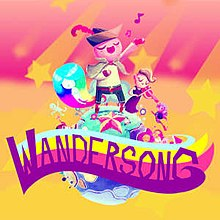 """Wandersong"" written in a stylised font, in front of a depiction of a bard singing on top of a planet with characters and landscapes visible."