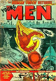 Young Men #25: Cover art by Carl Burgos.