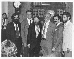 Kenneth E. Iverson - (L to R) Dick Lathwell, Ken Iverson, Roger Moore, Adin Falkoff, Phil Abrams, and Larry Breed. (On the extreme left in the background: Jon McGrew.) Taken in the I.P. Sharp Associates hospitality suite during the 1978 APL Users Meeting in Toronto, Canada.