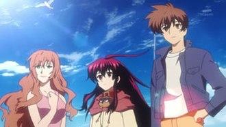 Black God (manga) - Main protagonists of Black God. From left to right: Akane Sano, Kuro (with Punipuni) and Keita Ibuki.