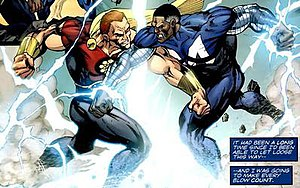 Blue Marvel - Image: Blue Marvel vs King Hyperion drawn by M.C. Wyman Age of Heroes 3