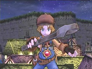 "Dark Chronicle - An early cutscene showcasing the cel shading on Max, along with Level-5's ""tonal rendering"", which applies smooth shaded foreground characters on detailed backgrounds."