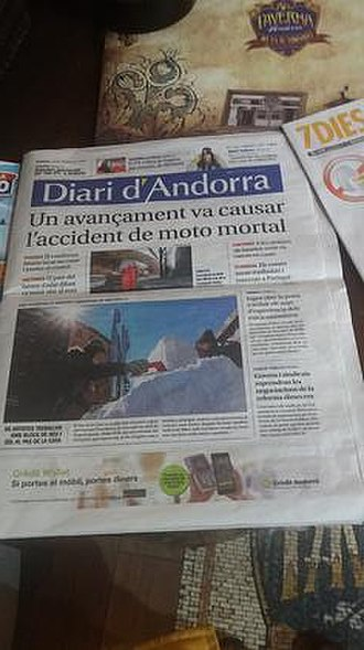 Diari d'Andorra - Frontpage of the Diari d'Andorra on February 24, 2018