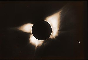 High Altitude Observatory - This photograph of the sun's outer atmosphere, or corona, was taken by a research team from the National Center for Atmospheric Research's High Altitude Observatory during a total solar eclipse on 12 November 1966, at Pulacayo, Bolivia. It was taken with a special camera designed by Gordon Newkirk of NCAR.