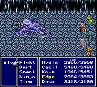Recurring elements in the Final Fantasy series - The Active Time Battle System in its first incarnation: the SNES version of Final Fantasy IV.