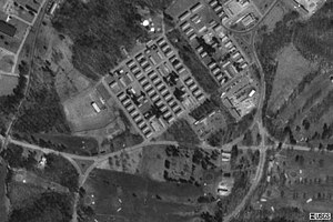 Fort Devens - Barracks as seen from the air in 1995, now demolished